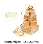 beautiful  gift box in gold... | Shutterstock . vector #158650790