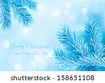 Christmas Blue Background With...
