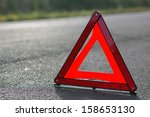 red triangle of a car on the...   Shutterstock . vector #158653130