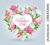 valentine's day greeting card... | Shutterstock .eps vector #1586553040