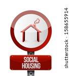 social housing road sign...   Shutterstock . vector #158655914