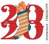 squirrel in a sock 2020 new... | Shutterstock . vector #1586562199