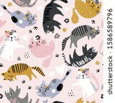 seamless childish pattern with... | Shutterstock .eps vector #1586589796