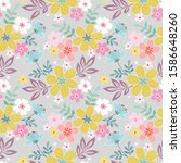 colorful hand drawn flowers...   Shutterstock .eps vector #1586648260