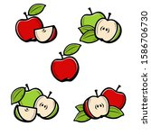 apple set. collection icons... | Shutterstock .eps vector #1586706730