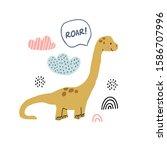 hand drawn dinosaur... | Shutterstock .eps vector #1586707996
