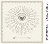 vector all seeing eye with... | Shutterstock .eps vector #1586719819