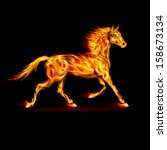 Raster version. Fire horse in motion on black background. - stock photo