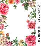 watercolor vintage floral frame ... | Shutterstock . vector #1586769499