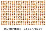 assortment of tasty canapes on... | Shutterstock . vector #1586778199