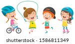 happy little children making... | Shutterstock .eps vector #1586811349