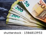 stack of fity  hundred and two... | Shutterstock . vector #1586813953