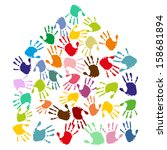 hand prints form a house | Shutterstock .eps vector #158681894