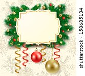 christmas background with label ... | Shutterstock .eps vector #158685134