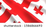 the flag of the georgia... | Shutterstock . vector #1586866693