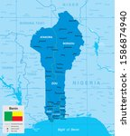 vector map of benin with... | Shutterstock .eps vector #1586874940