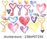 heart.key. watercolor....   Shutterstock . vector #1586907250
