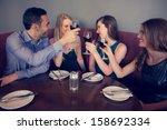 smiling friends clinking wine...   Shutterstock . vector #158692334