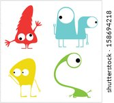 monsters   vector set | Shutterstock .eps vector #158694218