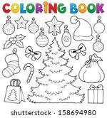 coloring book christmas decor 1 ... | Shutterstock .eps vector #158694980