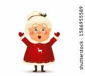happy mrs. claus cartoon... | Shutterstock .eps vector #1586955589