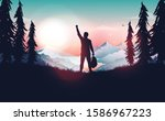 Life goal achievement - Happy man celebrating personal success by raising hand in nature. Beautiful view and mountain tops in background. Winner, travel and hiking concept. Vector illustration.