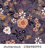 elegant floral pattern in small ... | Shutterstock .eps vector #1586980993