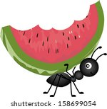 animal,ant,cartoon,clip art,eat,fauna,flora,food,fruit,graphic,illustration,insect,isolated,juicy,nature