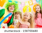 kids group and clown on... | Shutterstock . vector #158700680