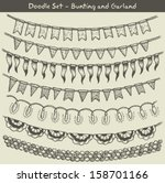 doodle bunting and garlands  | Shutterstock .eps vector #158701166
