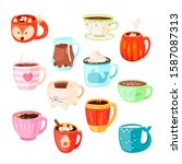 Vector Set Of Various Cups With ...