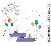 vector celebration greeting... | Shutterstock .eps vector #1587101776