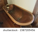 Old Copper Metal Bathtub With...