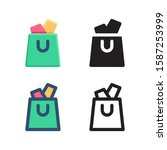 bag logo icon design in four...