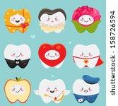 teeth  gift  lady  flower ... | Shutterstock .eps vector #158726594