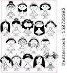 a set of 18 black white little... | Shutterstock .eps vector #158732363