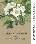 vintage greeting card. winter... | Shutterstock .eps vector #1587353470