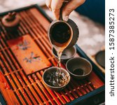 Small photo of Close-up Table For Traditional Tea Ceremony Utensils, Chinese Teacup