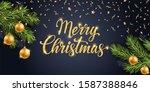 merry christmas gold text.... | Shutterstock . vector #1587388846