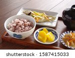 a dish of rice and fish of rice ...   Shutterstock . vector #1587415033