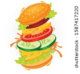 funny fast food colorful vector ... | Shutterstock .eps vector #1587417220