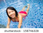beautiful female swimming  in ... | Shutterstock . vector #158746328