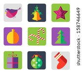 christmas icons into a flat... | Shutterstock .eps vector #158746649