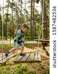 Small photo of Go Ape Adventure. Climber child on training. Child climbing on high rope park. Roping park. boy with safety carbine goes on a rope in adventure climbing high wire park