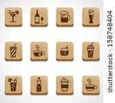 wood texture button beverage and drink icons set  - stock vector