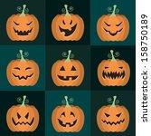 set of vector halloween... | Shutterstock .eps vector #158750189