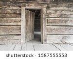 Open Front Door. Rustic...