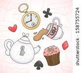 tea party in wonderland. | Shutterstock .eps vector #158755724