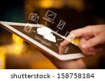 hand touching tablet pc  mobile ... | Shutterstock . vector #158758184