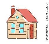 house color line icon. a...